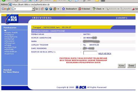 Cek Tagihan di BCA Online