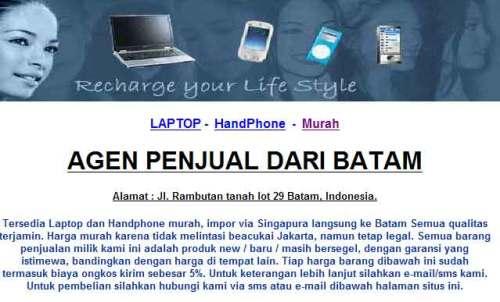 web penipuan modus laptop murah