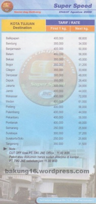 Tarif JNE super speed