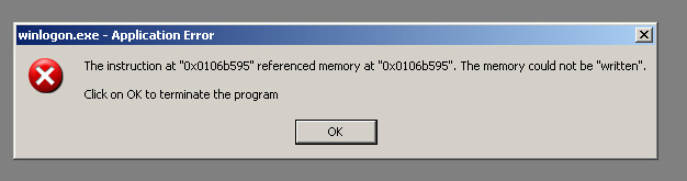 winlogon exe application error the instruction at referenced memory